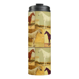 Vintage  Arabian horses - collage Thermal Tumbler
