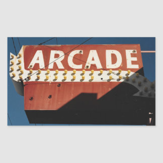 Vintage Arcade Sign Photograph Rectangle Stickers