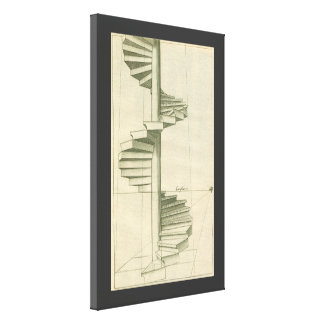 Vintage Architectural Stairs, Spiral Staircase Canvas Prints