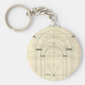 Vintage Architecture, Arches Perspecitve Basic Round Button Key Ring