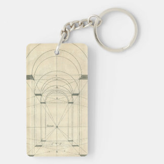 Vintage Architecture, Arches Perspecitve Rectangular Acrylic Keychains