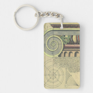 Vintage Architecture; Capital Volute by Vignola Double-Sided Rectangular Acrylic Key Ring