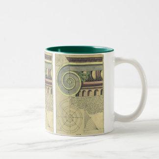 Vintage Architecture; Capital Volute by Vignola Two-Tone Coffee Mug
