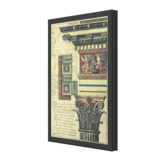 Vintage Architecture, Column with Cornice Moulding Gallery Wrap Canvas