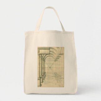 Vintage Architecture, Columns Arches Perspective Grocery Tote Bag