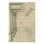 Vintage Architecture, Columns Arches Perspective Poster