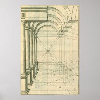 Vintage Architecture, Columns Arches Perspective Poster