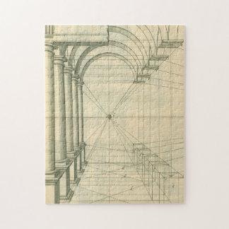 Vintage Architecture, Columns Arches Perspective Puzzles