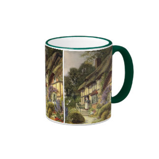 Vintage Architecture, Country Cottage House Ringer Mug
