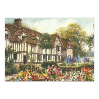 Vintage Architecture English Cottage Formal Garden Announcement