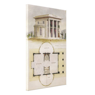 Vintage Architecture, Floor Plan and Greek Villa Gallery Wrapped Canvas