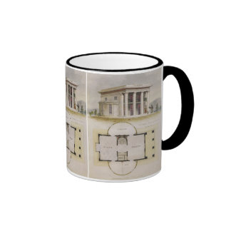 Vintage Architecture, Floor Plan and Greek Villa Ringer Mug