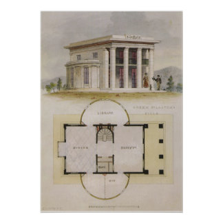 Vintage Architecture, Greek Villa and Floor Plan Posters