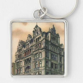 Vintage Architecture Queens Hotel Leicester Square Silver-Colored Square Key Ring