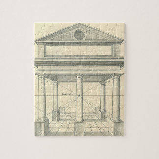 Vintage Architecture, Roman Portico with Columns Jigsaw Puzzle