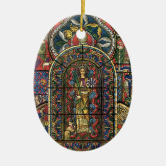Vintage Architecture, Stained Glass Church Window Christmas Ornament