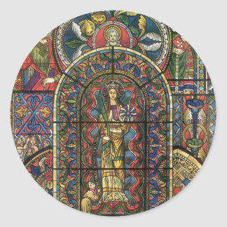Vintage Architecture, Stained Glass Church Window Classic Round Sticker