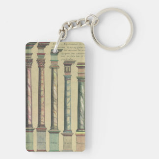 Vintage Architecture, the 5 Architectural Orders Double-Sided Rectangular Acrylic Key Ring