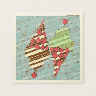 Vintage Argyle Pattern Ice Cream Cones Paper Serviettes