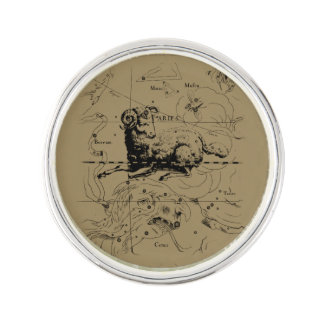 Vintage Aries Constellation Map Hevelius 1690 Lapel Pin