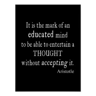 Vintage Aristotle Educated Mind Thought Quote Poster