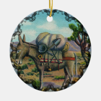 Vintage Arizona Desert and Donkey Ornament