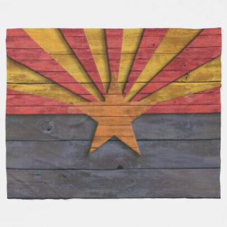 Vintage Arizona Flag Distressed Wood Look Fleece Blanket