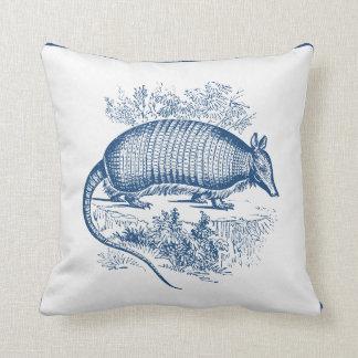 Vintage Armadillo Antique Woodblock Blue Throw Pillow