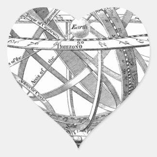 Vintage Armillary Sphere Heart Sticker