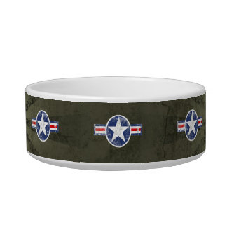Vintage Army Air Corps Patriotic Star Pet Water Bowl