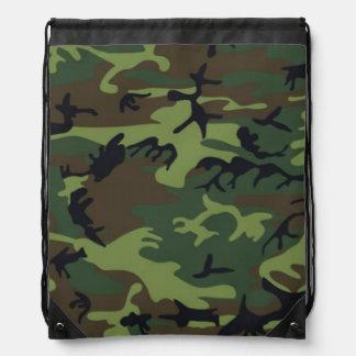 Vintage Army Camouflage Pattern Drawstring Backpacks
