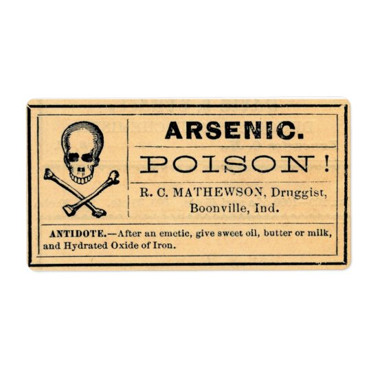 Vintage Arsenic Label Poison Halloween Shipping Label