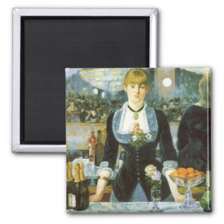 Vintage Art, Bar at the Folies Bergere by Manet Square Magnet