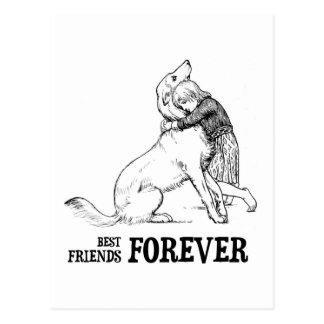 Vintage Art: Best Friends Forever Girl hugging Dog Postcard