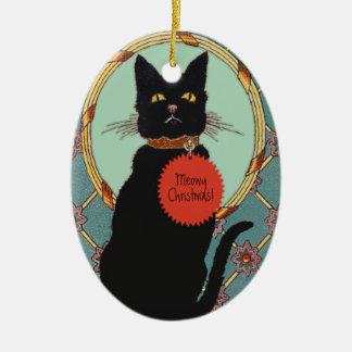 "Vintage Art Black Cat ""Meowy Christmas"" Ceramic Ornament"