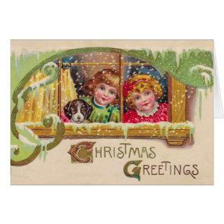 Vintage Art Christmas Card, 2 Children, Customize Card