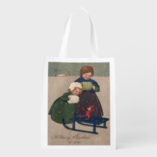 Vintage Art Christmas, Two Girls an Elf on a Sled