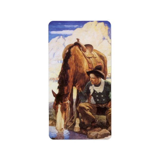 Vintage Art, Cowboy Watering His Horse by NC Wyeth Label