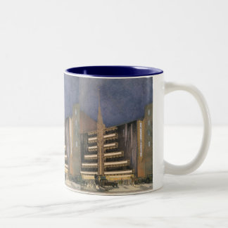 Vintage Art Deco Architecture, Building in NYC Two-Tone Coffee Mug