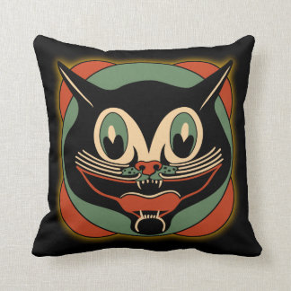Vintage Art Deco Black Cat Pillow