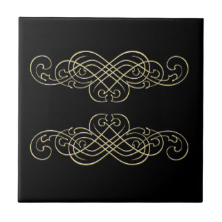 Vintage Art Deco Black White  and Gold Scroll Ceramic Tile