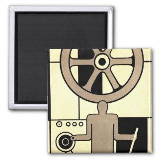 Vintage Art Deco Business, Machine Worker Wheels Fridge Magnet