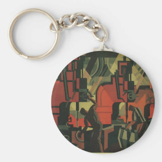 Vintage Art Deco Business, Manufacturing Workers Basic Round Button Key Ring