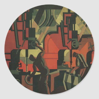 Vintage Art Deco Business, Manufacturing Workers Classic Round Sticker