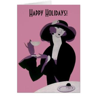 Vintage Art Deco Christmas, Afternoon Tea Cupcakes Card