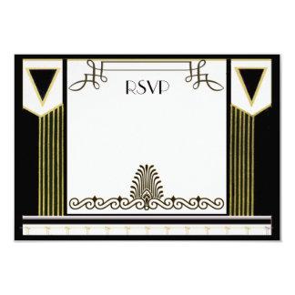 Vintage Art Deco Couple Formal Wedding RSVP Custom Card