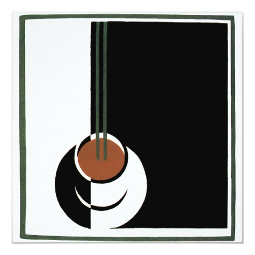 Vintage Art Deco, Cup of Coffee with Steam 13 Cm X 13 Cm Square Invitation Card