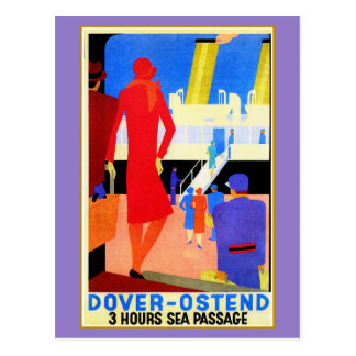 Vintage art deco Dover Ostend North Sea Ferry ad Postcard