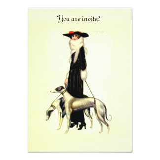 Vintage Art Deco Fashion 11 Cm X 16 Cm Invitation Card