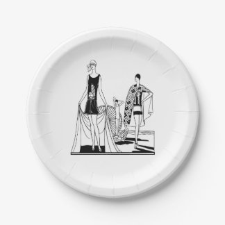 Vintage Art Deco Fashionable Ladies at the Beach 7 Inch Paper Plate